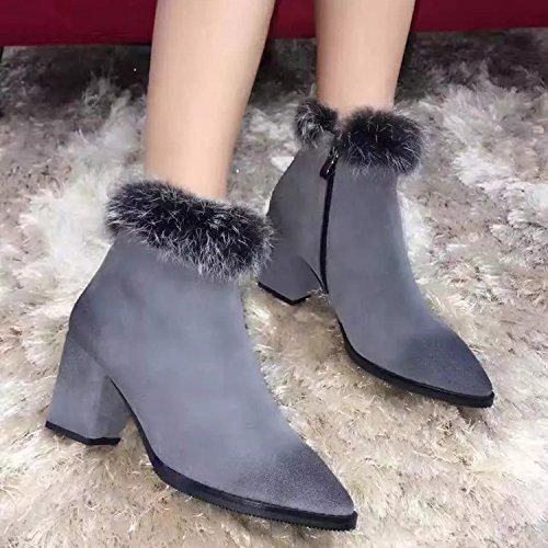 unie Bottes Chaussures De Bottes Les Couleur Fermeture Hiver De Haut Talon Courtes À Éclair Pointe SHOESHAOGE Cachemire Femmes Femmes SgOqxwOCUH