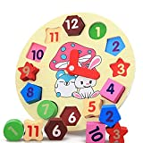 Shape Sorting Clock Learn to Tell Time Wooden Counting...