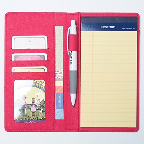AHZOA 4 Pockets Slim Memo Padfolio S1, Synthetic Leather Handmade 4.33 X 7.48 Inch Folder Clipboard Writing Pad (red)