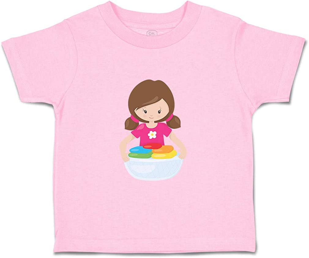 Custom Baby /& Toddler T-Shirt Girl Holds Clothes Brown Cotton Boy Girl Clothes