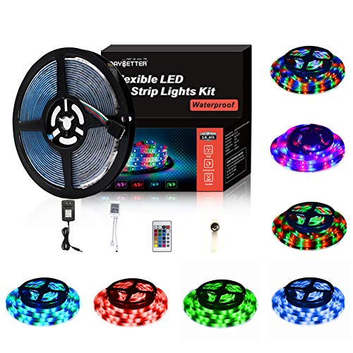(Led Strip Lights 5M/16.4 Ft SMD 3528 RGB 300 LEDs Color Changing Kit Waterproof, LED Ribbon for Home/Kitchen Lighting Strips Power Adapter Included)