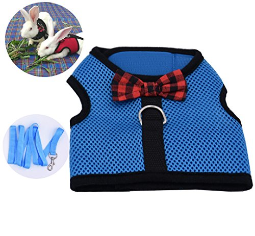 (Soft Harness with Leash for Rabbits Bunny Small Little Pets (M,)
