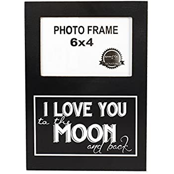 this item i love you to the moon and back 4 x 6 black and white wood picture frame