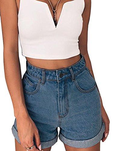 - Women's Denim Shorts Juniors Girls Stretchy Mid Rise Cuffed Short L DarkBlue