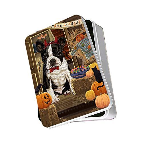 Enter at Own Risk Trick or Treat Halloween Boston Terrier Dog Photo Storage Tin PITN53037