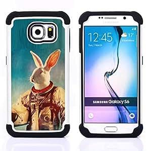 For Samsung Galaxy S6 G9200 - White Rabbit Space Suit Travel Animal Experiment /[Hybrid 3 en 1 Impacto resistente a prueba de golpes de protecci????n] de silicona y pl????stico Def/ - Super Marley Shop -