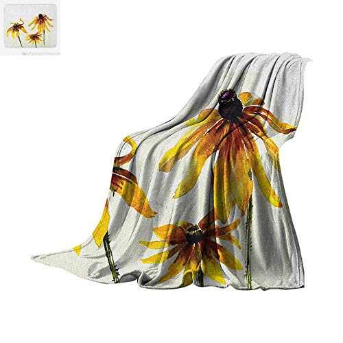 Watercolor Flower Warm Microfiber All Season Blanket Garden with Daisy Flowers in Soft Painting Effect Dramatical Nature Summer Quilt Comforter 60