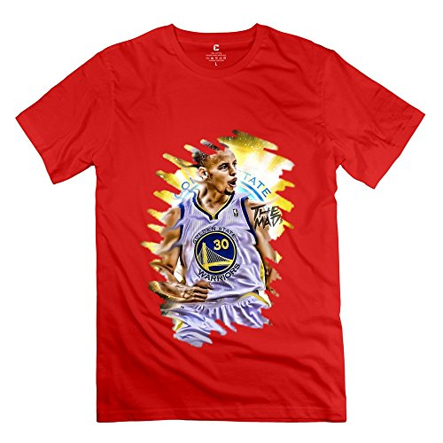 Cool NBA 2015 MVP Golden State Warriors Stephen Curry Men's Tshirt Red (Mitsubishi Headers)