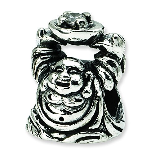 Sterling Silver Polished Antique finish Reflections SimStars Cubic Zirconia Buddha Bead Charm