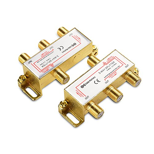 Cable Matters 2-Pack Gold Plated 2.4 Ghz 3 Way Coaxial Cable Splitter (Coaxial Splitter, TV Splitter, Coax Splitter, RG6 Splitter) 4 Way Satellite Radio Splitter