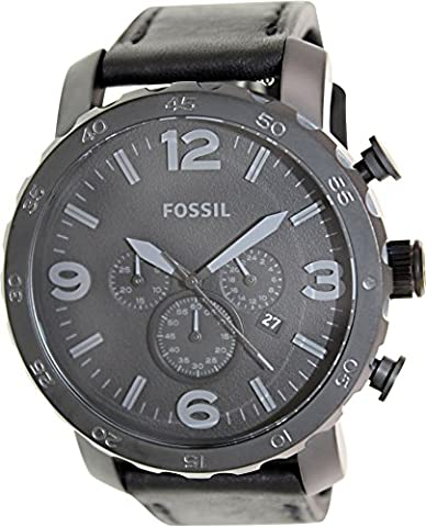 Fossil Men's JR1354 Nate Stainless Steel Chronograph Watch with Black Leather Band (Fossil Watchs Nate)