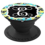 Personalized Pop Socket E Initial Teal Yellow Accessories - PopSockets Grip and Stand for Phones and Tablets
