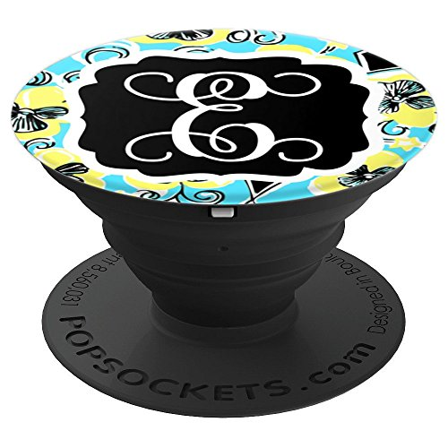 Personalized Pop Socket E Initial Teal Yellow Accessories - PopSockets Grip and Stand for Phones and Tablets by Monogram Phone Grips by Puddle Kickers