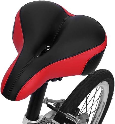 Asiento de Bicicleta Sillín de Bicicleta Asiento Bicicleta Largo Cómodo de Sillín para Bicicleta con Banda Reflectante, Resorte de Acero Doble, Espuma Suave, Negro y Rojo, 25 × 20 × 6 cm: