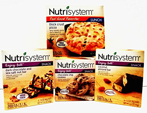 Nutrisystem SNACK Pack + BONUS Chocolate Shake (11 oz bottle). 1 box each of DARK CHOCOLATE & SEA SALT NUT BARS, CHOCOLATE CHIP COOKIES, PEANUT BUTTER CHOCOLATE BARS, THICK CRUST PIZZA