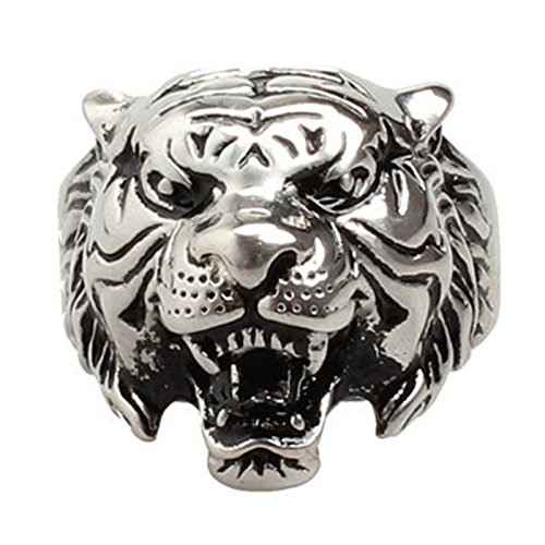 Eamaott Men's Vintage Silver Plating Domineering Tiger Head Ring Stainless Steel Personalized Ring Size 8