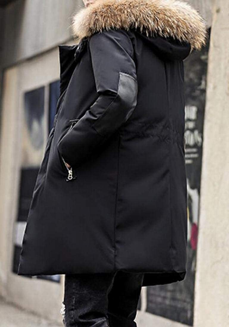 BU2H Men Stylish Zip-Front Mid-Length Quilted Padded Hoodie Coats