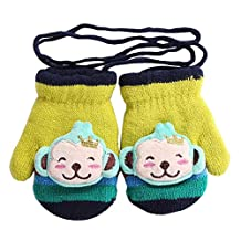 Baby Kids Cartoon Decor Winter Warm Mittens Gloves with String [Monkey]