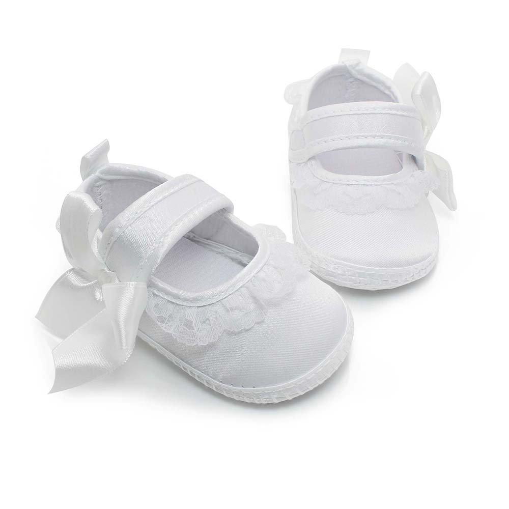 OOSAKU Baby M/ädchen Kleinkind Infant Spitze Floral Wei/ß Taufe Schuhe Neugeborenen Anti-Slip Prewalker Hausschuhe