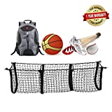 Adjustable Elastic New Truck Net Universal Heavy Duty Stretchable Cargo Net with 3 Pockets, Hooks, Organizer, Storage, Mesh, Nylon, Bungee, for Car, SUV, Pickup Truck, -Black