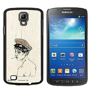 KLONGSHOP // Cubierta de piel con cierre a presión Shell trasero duro de goma Protección Caso - Soldado Humo Ejército Desnudo - Samsung Galaxy S4 Active i9295 //