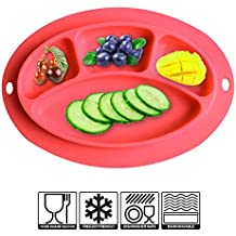 Silicone Baby Placemat, Baby Portable Highchair Feeding, Table Tray For Toddler, Strong Adsorption, Not Easy To Upset, Silicone Place Mats Kids Dishwasher and Microwave Safe Silicone Placemat (Red)