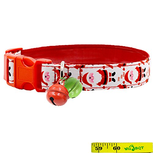 Festive Christmas Holiday Dog Collars with 2 Bells for Medium to Large Dogs, Cute Soft Adjustable Sturdy Nylon Collars, 1 Inch Wide (Red Santa Claus, 12
