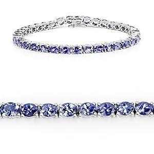 11.80 Carat Genuine Tanzanite .925 Sterling Silver Bracelet