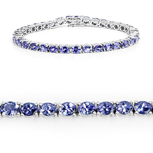 11.80 Carat Genuine Tanzanite .925 Sterling Silver Bracelet