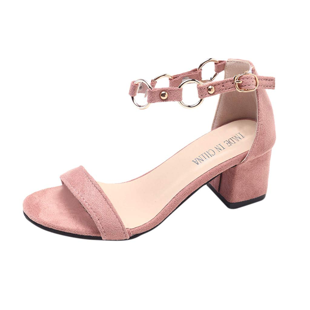 refulgence Women's Mid Heels Sandals, Fashion Casual Square Heel Ladies Shoes Open Toe Shoes(Pink,US=5)