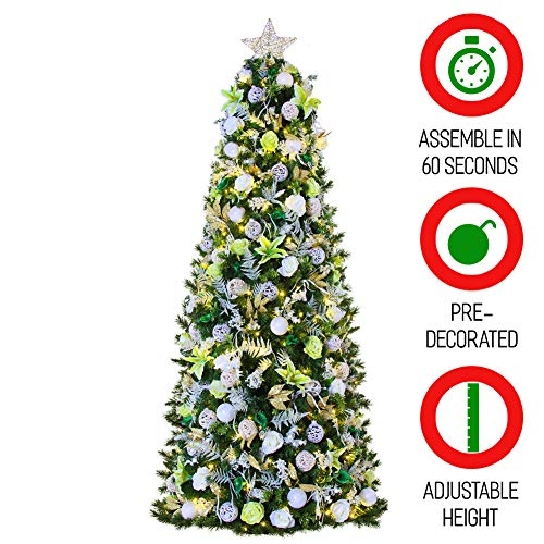 Easy Treezy 7.5ft Prelit Christmas Tree, Easy Setup & Storage in 60 Seconds, Best Realistic Natural Douglas Fir 7.5 Foot Pre-Lit Artificial Tree with LED Lights, Pre-Decorated Holiday Decor