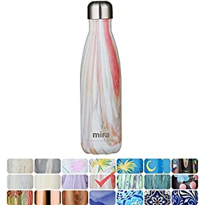MIRA Vacuum Insulated Travel Water Bottle | Leak-proof Double Walled Stainless Steel Cola Shape Portable Water Bottle | No Sweating, Keeps Your Drink Hot & Cold | 17 Oz (500 ml) | Sunset