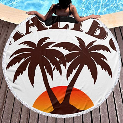 Bethwerdr Round Beach Towel for Women&Girl, Malibu Rum Hippie Happy Youth Towel Extra Large Sand Proof Blanket Yoga Mat with Tassels 59