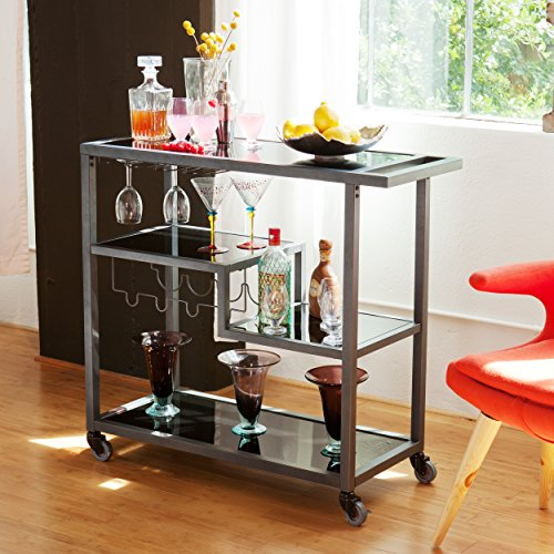 Zephs Rolling Bar Cart - Locking Castor Wheels - Gunmetal Finish w/Black Tempered Glass