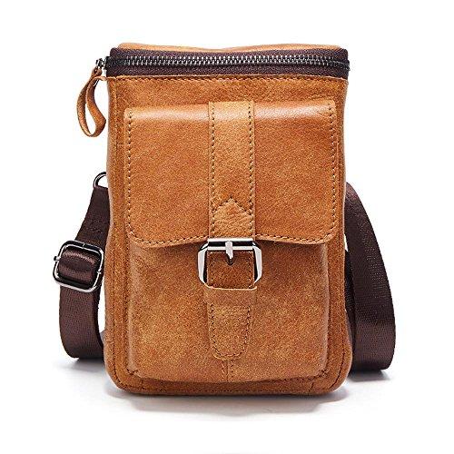 Premium Cowhide Leather Belt Holster Fanny Small Messenger Bag Pack for iPhone 7 Plus 8 Plus Holster Waist Bag Travel Shoulder Bag Crossbody Bag for iPhone 6 Plus Cell Phone Samsng LG Phones Brown by Yuzihan