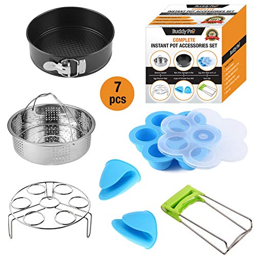 Instant Pot Accessories Set Fits 5,6,8 Qt Pressure Cooker/7 Pcs/Steamer Basket/Silicone Egg Bite Mold/Non Stick SpringForm Pan/Egg Steamer Rack/Silicone Oven Mitts/Bowl Clip, Gift Ideal by Buddy Pro