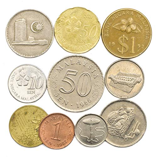 Set Asian Coin - 10 Old Coins from Malaysia, Southeast Asian Malaysian SEN Collectible Coins. Perfect Choice for Your Coin Bank, Coin Holders and Coin Album