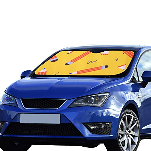WJJSXKA Window Car Shade Art Colorful Stationery Pencil Polyester&aluminized Film Cushion Front Windshield Sun Shades Foldable Maximum Uv&Sun Protection Keep Your Vehicle Cool 55x30in