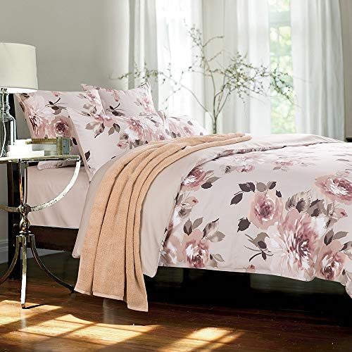 Softta Luxury Peony Floral Bedding Design Full Size 4Pcs(1 Duvet Cover+ 1 Flat Sheet + 2 Pillowcases 600 Thread Count 100% Cotton Duvet Cover Set