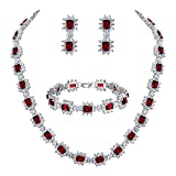 BriLove Wedding Bridal Necklace Bracelet Earrings Jewelry Set for Women CZ Multi Emerald Cut Halo Collar Necklace Tennis Bracelet Dangle Earrings Set Ruby Color Silver-Tone July Birthstone