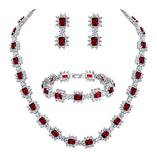 BriLove Wedding Bridal Necklace Bracelet Earrings Jewelry Set for Women CZ Multi Emerald Cut Halo Collar Necklace Tennis Bracelet Dangle Earrings Set Ruby Color Silver-Tone July Birthstone by BriLove