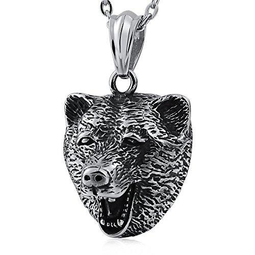 Head Pendant Bear (Beydodo Stainless Steel Pendant for Men Necklace for Women Jewelry Animal Pendant Bear Head Silver)