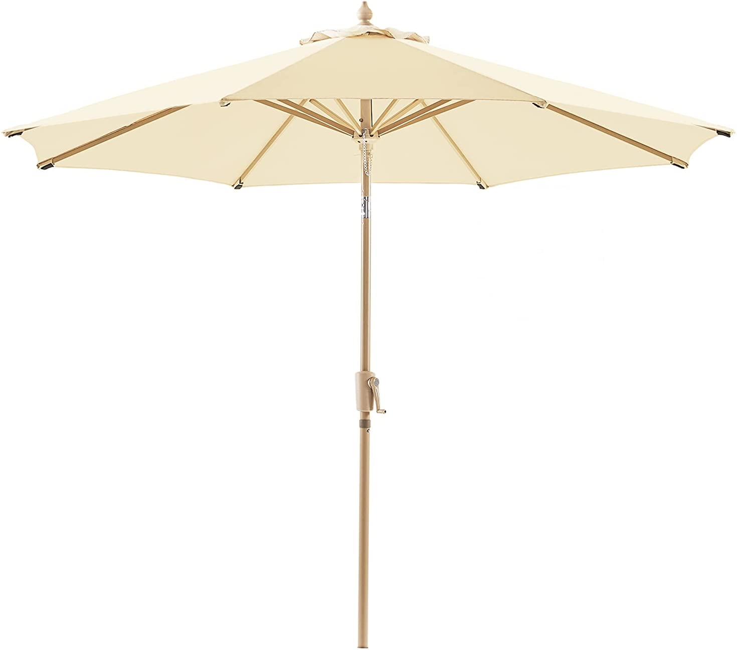 Le Conte Olefin 9 ft. Patio Umbrella Outdoor Market Umbrellas Table Umbrellas   3 Years Non-fading material & Push Button Tilt   Best for Deck, Balcony, Garden, Lawn & Pool (Beige)