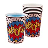 Ginger Ray Comic Superhero Kaboom Party Paper Cups (8 Pack), Mixed