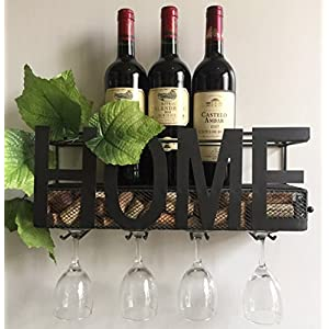 Wall Mounted Wine Rack 4 Long Stem Glass holder