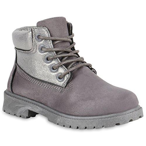 Stiefelparadies Kinder Stiefeletten Glitzer Worker Boots Outdoor Schuhe Bequem Flandell Grau Amares