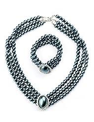 Gobuy Women Luxurious Rhinestone Pearl 3 Layers Necklace Bracelet Wedding Jewelry Set