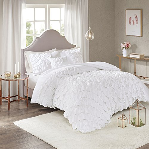 Madison Park Octavia Duvet Cover Reversible Embellished Pleated Ruffle Stripes Texture Wavy Waterfall Matching Shams Ultra Soft Corner Ties All Season Bedding-Sets, Full/Queen, White