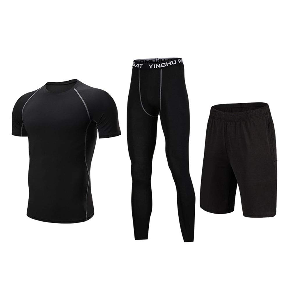 Wuxingqing Gym Wear Fitness Bekleidung Set Sportliches Leistungs-Set für Herren, 3-Pack-Kompressionshose, kurzärmliges T-Shirt, Shorts (Color : Black, Size : XXXXL)