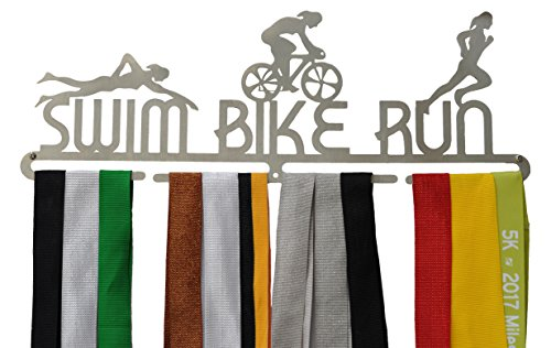 Swim Bike Run Medal Hanger Female - Woman Triathlon Medal Holder / Triathlon Medal Display - Stainless Steel (Womens Triathlon Bike)